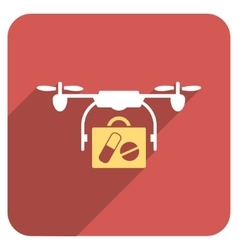 Medical drone shipment flat rounded square icon vector