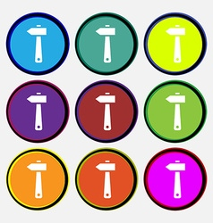 Hammer icon sign nine multi colored round buttons vector