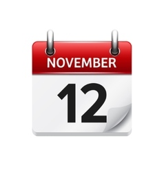 November 12 flat daily calendar icon vector