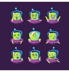 Alien In Ufo Emoticon Set vector image