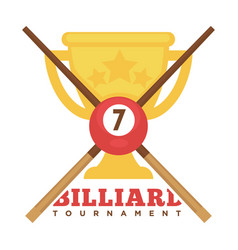 billiard tournament emblem with crossed cues and vector image vector image