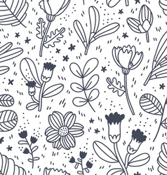 Black and white decorative floral pattern vector image