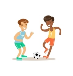 Boys playing football kid practicing different vector
