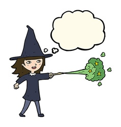 Cartoon witch girl casting spell with thought vector