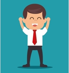 Cheerful businessman startup progress vector