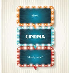 Cinema banners with light bulbs cinema background vector image vector image