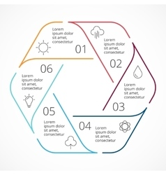 Circle linear arrows infographic hexagon vector