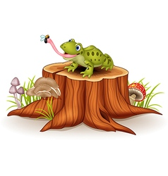 Cute frog catching fly on tree stump vector