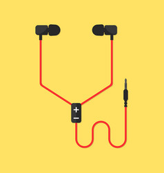 Earphones isolated on yellow background vector