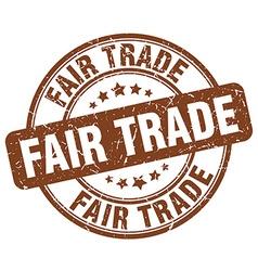 Fair trade brown grunge round vintage rubber stamp vector