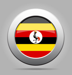 flag of uganda shiny metal gray round button vector image vector image