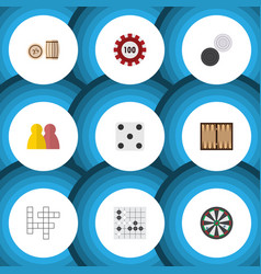 Flat icon games set of chequer backgammon vector