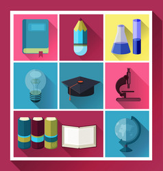 flat icon set vector image vector image