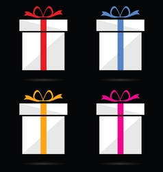 gift box on black background vector image