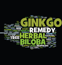Ginkgo biloba herbal remedy text background word vector