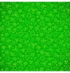 Green ornate Christmas symbols seamless pattern vector image