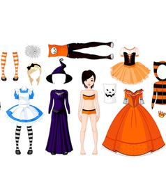 Halloween paper doll with different costumes vector