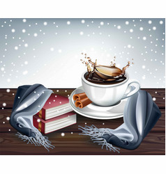 hot coffee splash winter background vector image