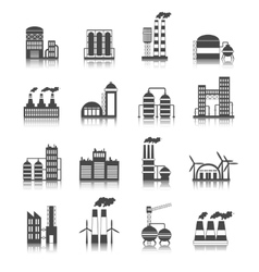 Industrial building icons vector image