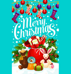 merry christmas decoration greeting card vector image