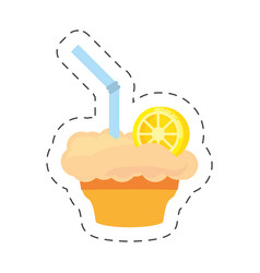 Milk shake orange juice straw cut line vector