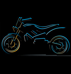 Motorcycle on black background moto vector