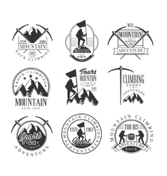 Mountain Climbing Extreme Adventure Tour Black And vector image vector image