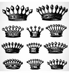 ornamental crowns vector image vector image