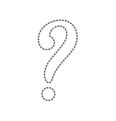 Question mark sign black dashed icon on vector