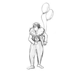 Sketchy doodle clown vector