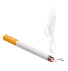 Smoking cigarette on white background for vector