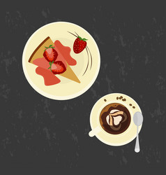 Strawberries cake with love coffee vector