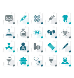 stylized healthcare medicine and hospital icons vector image