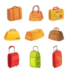 Suitcases and other luggage bags set of icons vector