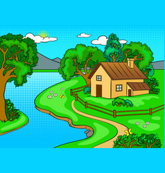 Summer landscape pop art vector
