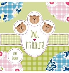 Three happy triplets baby arrival announcement vector