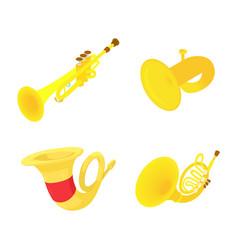 trumpet icon set cartoon style vector image vector image