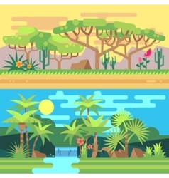 Tropical forest landscapes flat vector image