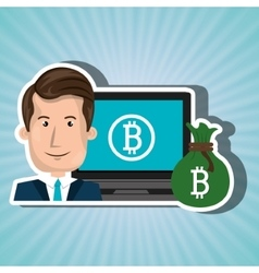 Man laptop bitcoin online vector