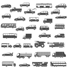 Car black icons set vector image