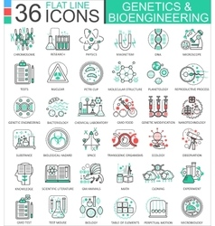 Genetics and biochemistry flat line outline vector