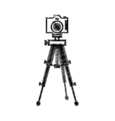 photograpic camera with tripod vector image