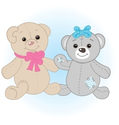 Teddy bears couple vector