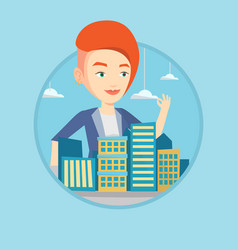 real estate agent presenting city model vector image