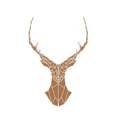 polygonal brown deer with horns vector image