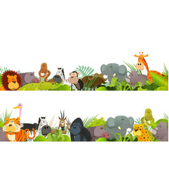 seamless frieze with wild african animals vector image