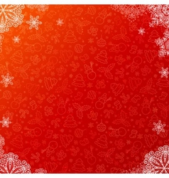 Red ornate christmas background with snowflakes vector