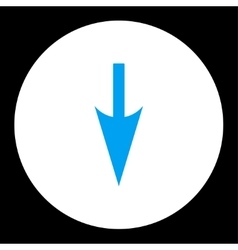 Sharp down arrow flat blue and white colors round vector