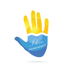 Sea and sun icon on hand summer color vector
