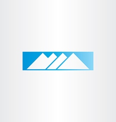 Winter snow mountain blue icon vector